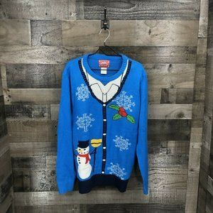 Jem Pullover Faux Button Down Xmas Sweater Size XL